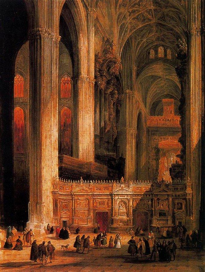 Interior catedral de sevilla 1845 jenaro p rez villaamil - Catedral de sevilla interior ...
